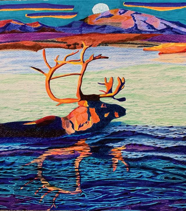 watercolor: Moonlit Swim