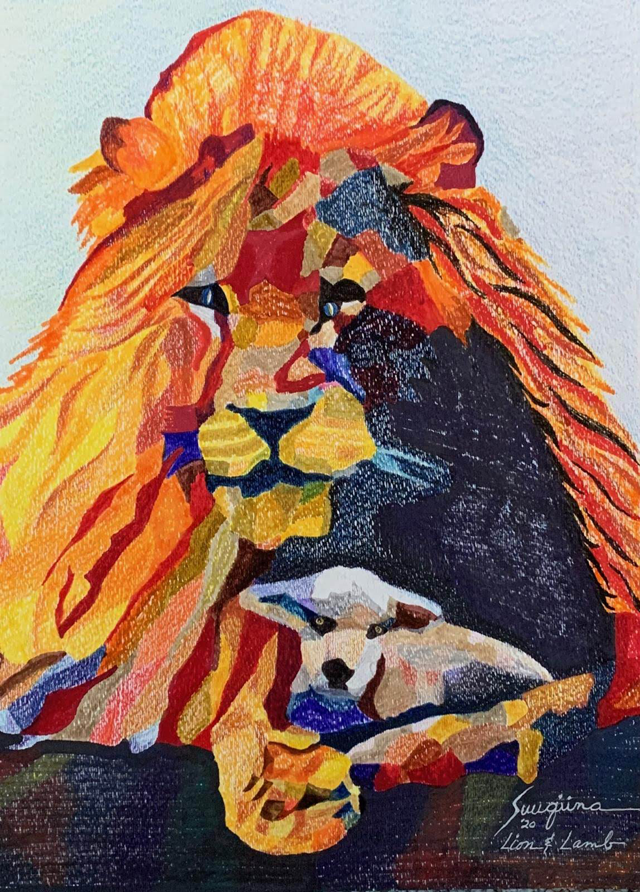watercolor: Lion and Lamb