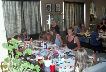 Qaum and grandkids make art