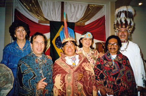 Fern Noble, Grand Chief 		Lynda Prince, Suuqiina with Brazilian tribes
