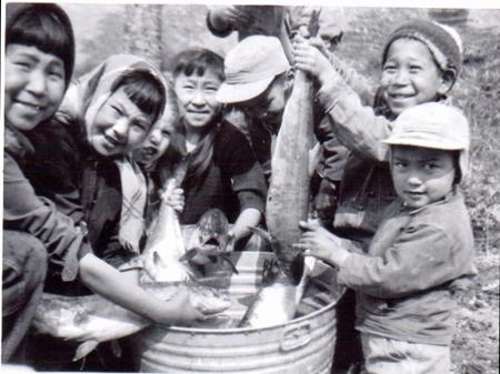Children with fish